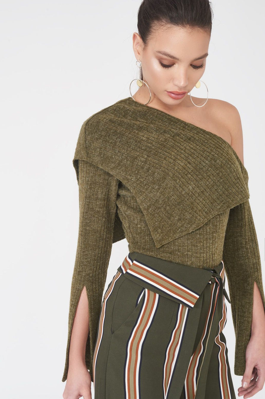 One Shoulder Fold Over Rib Knit Jumper in Khaki