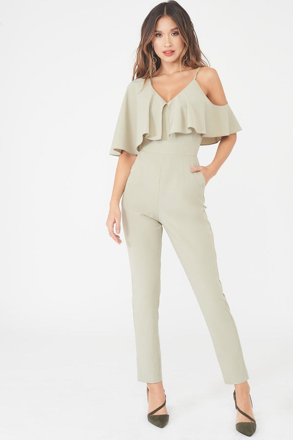 fa70f411b3c ... Asymmetric Off The Shoulder Tapered Jumpsuit in Sage Green