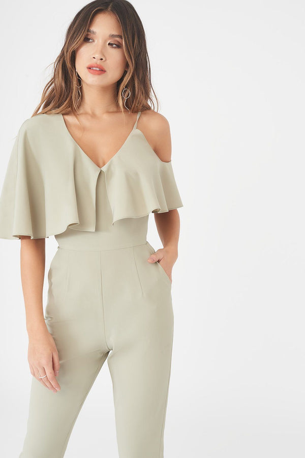 b2ca3ea28bb Asymmetric Off The Shoulder Tapered Jumpsuit in Sage Green ...