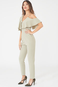 Asymmetric Off The Shoulder Tapered Jumpsuit in Sage Green