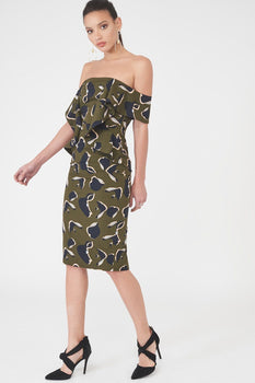 Off The Shoulder Folded Midi Dress in Khaki Print