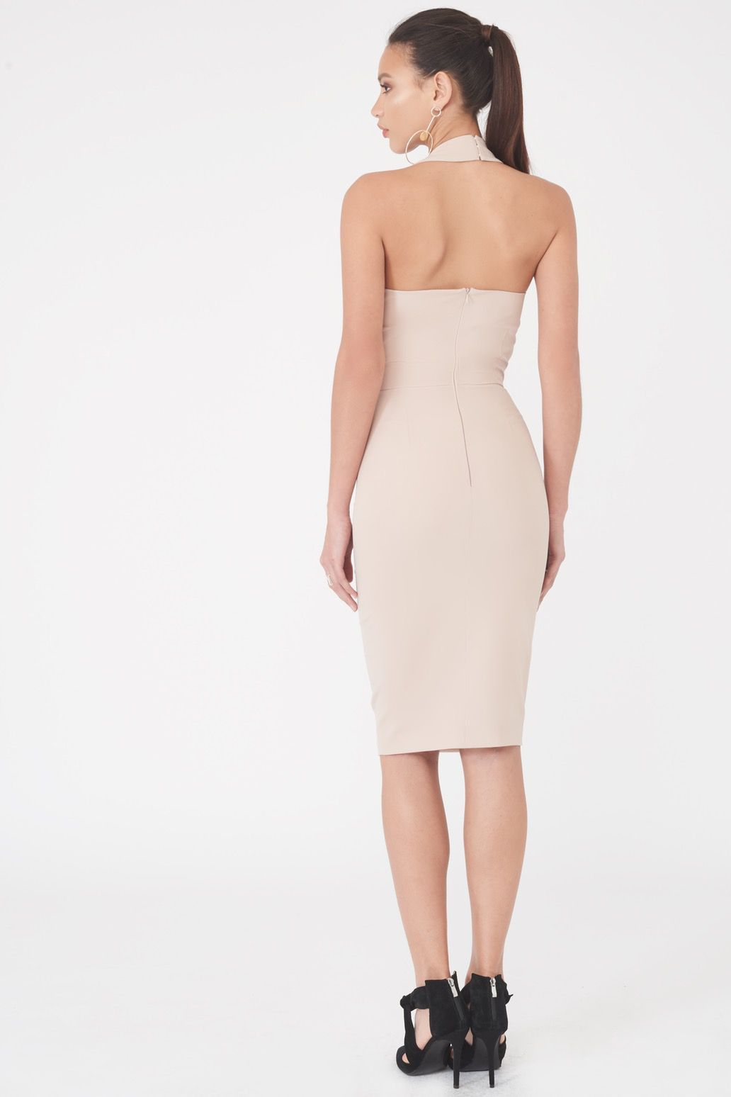Pleated Halterneck Mini Dress in Nude