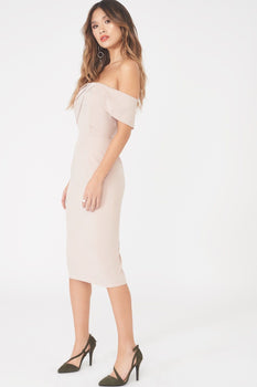 Bardot Pleated Double Layer Midi Dress in Nude