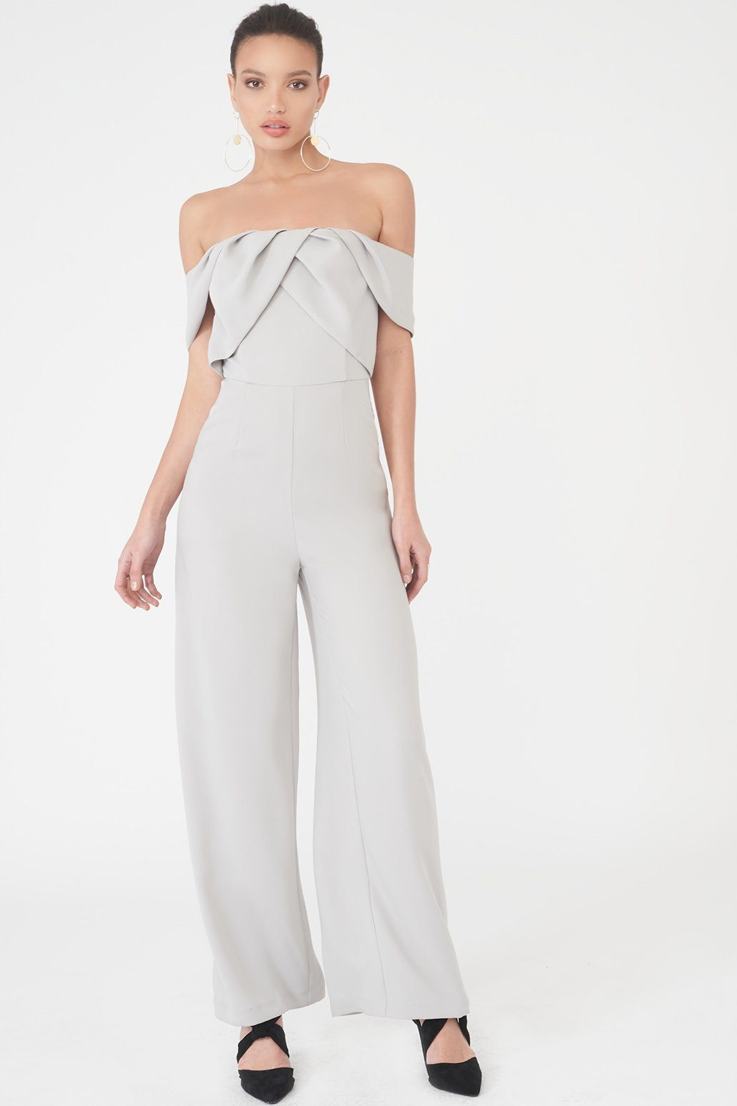 Bardot Pleated Double Layer Wide Leg Jumpsuit in Grey