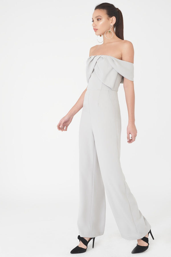 404e1b91da3 Bardot Pleated Double Layer Wide Leg Jumpsuit in Grey ...