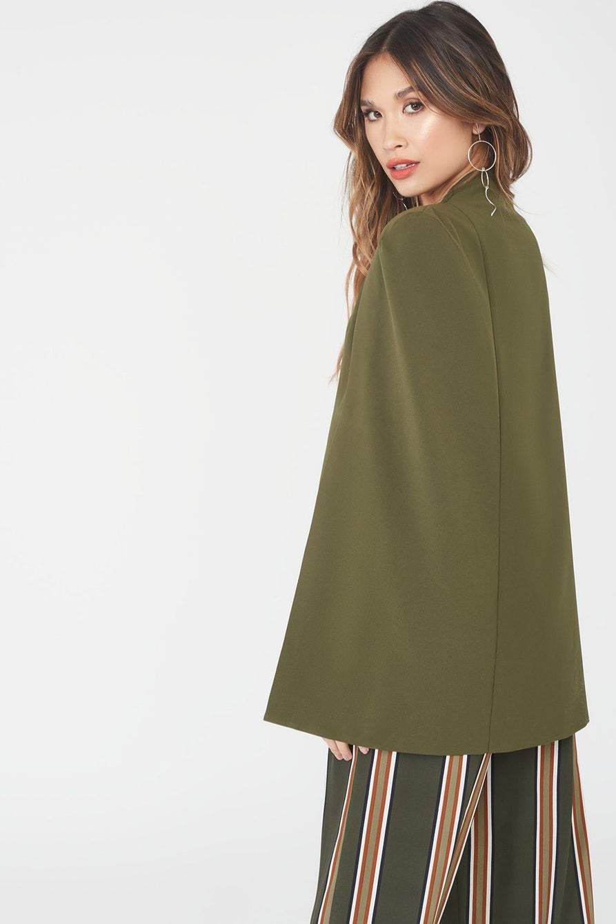 Signature Cape Blazer in Khaki