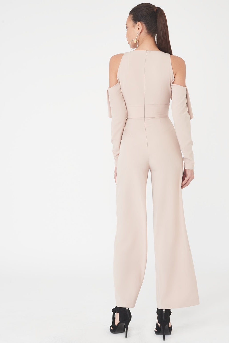 Cold Shoulder Folded Detail Wide Leg Jumpsuit in Nude
