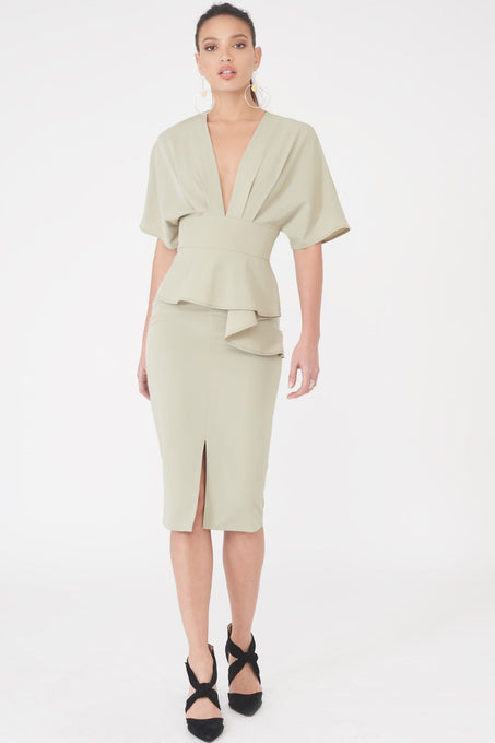 Kimono Sleeve Peplum Midi Dress in Sage Green