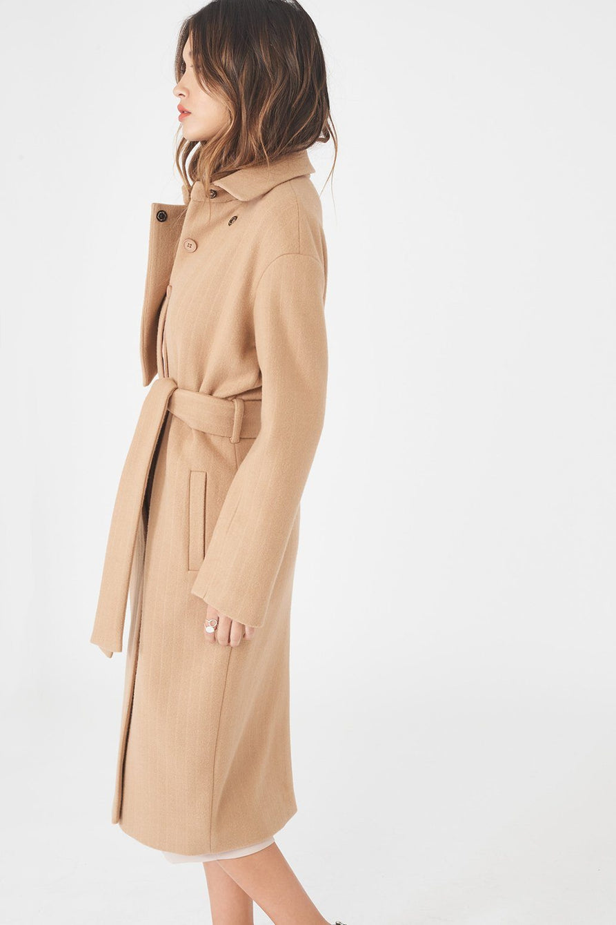 Asymmetric Wool Coat with Storm Flap