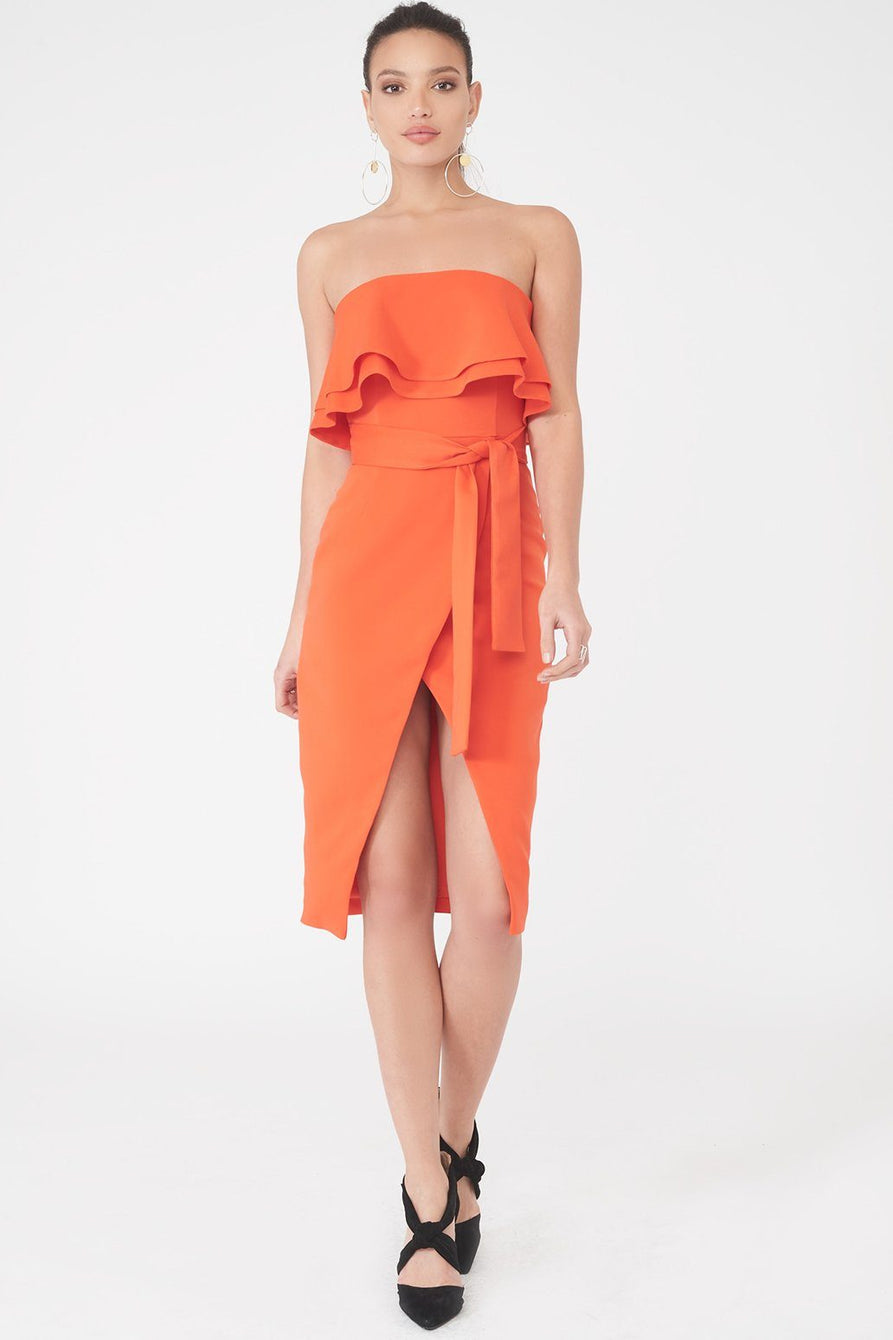 Double Frill Bandeau Dress in Orange