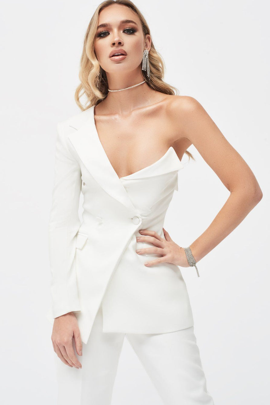 One Shoulder Bodice Blazer in White