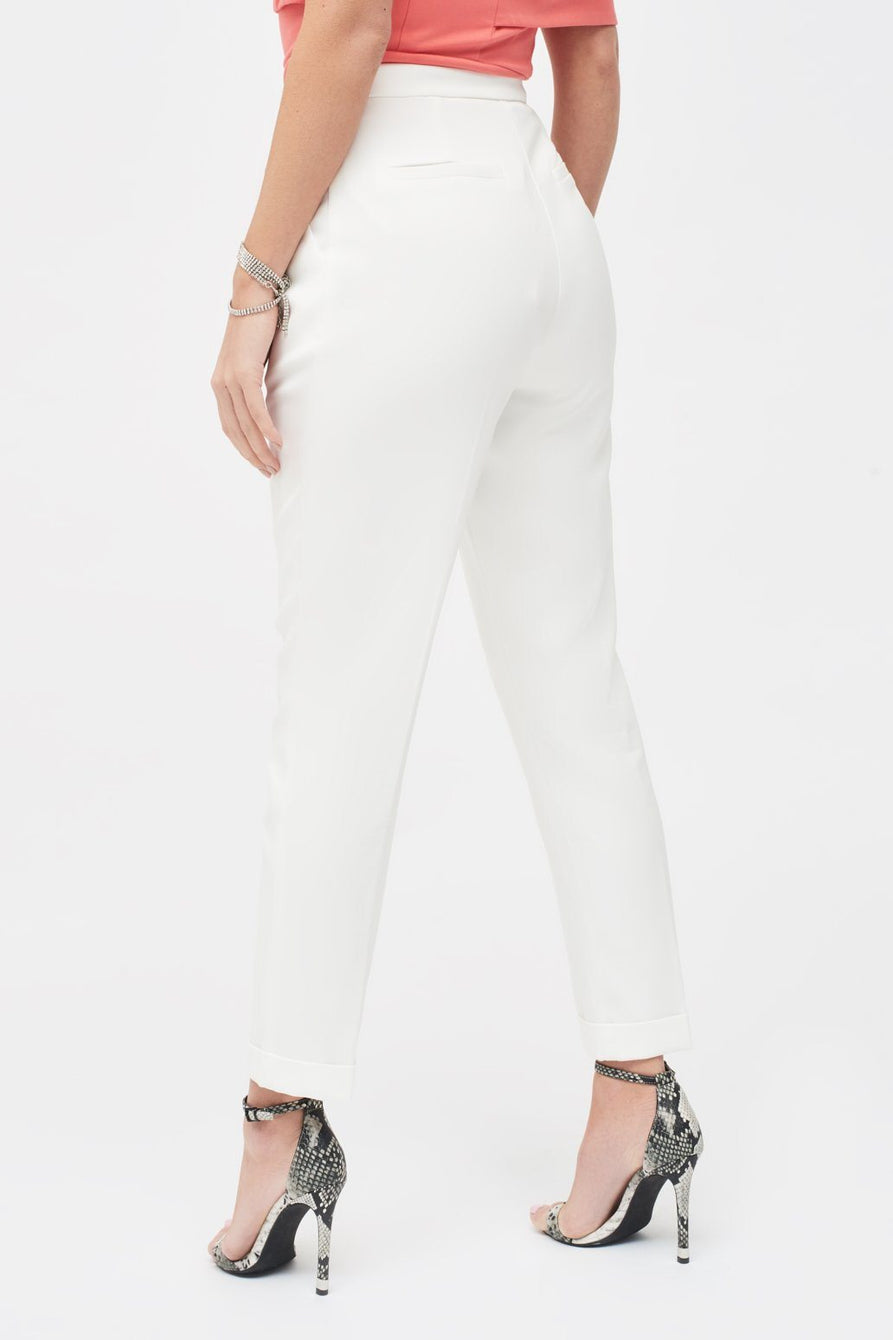 Tapered Mensy Trousers with Folded Hem in White