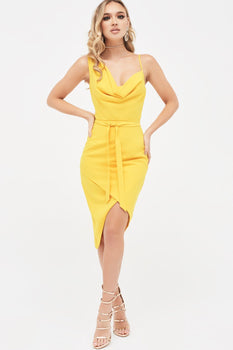 Cowl Neck Belted Wrap Dress in Sunshine Yellow