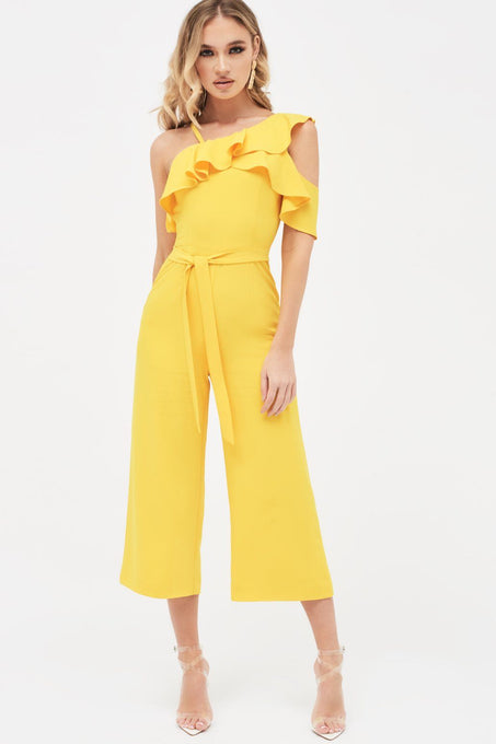 One Shoulder Ruffle Belted Culotte Jumpsuit in Sunshine Yellow
