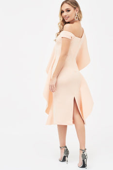Off The Shoulder Exaggerated Frill Scuba Midi Dress In Nude