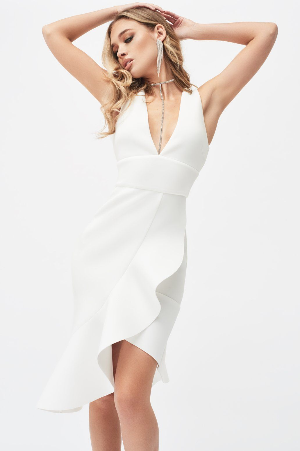 V-Neck Ruffle Wrap Scuba Dress in White