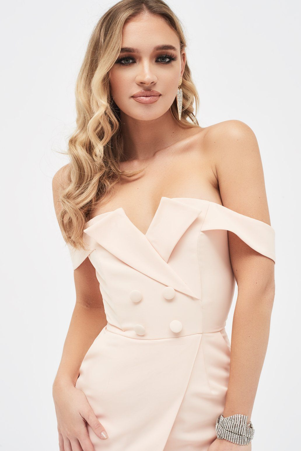Bardot Tuxedo Wrap Dress in Nude
