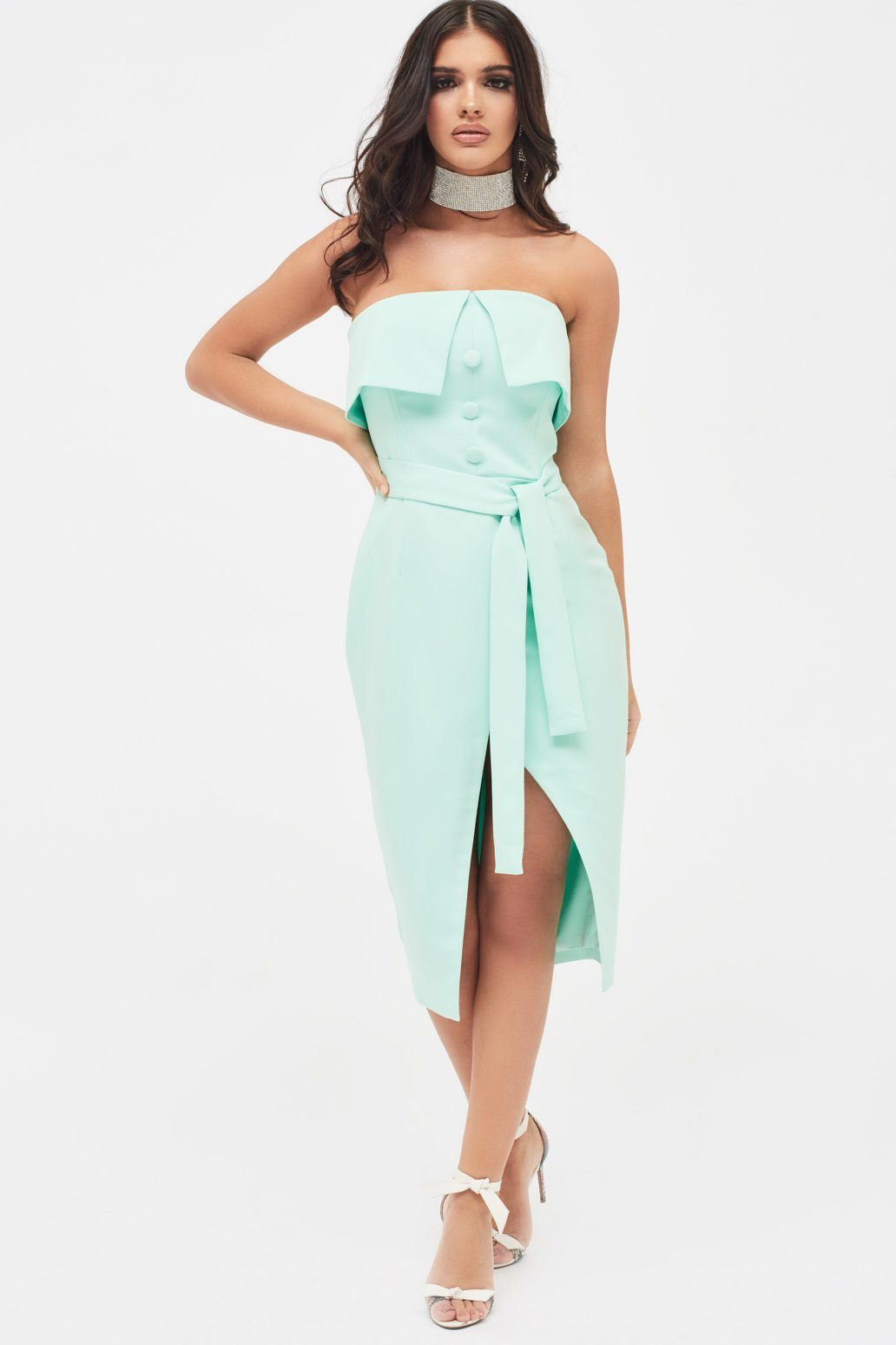 Double Layer Bandeau Wrap Midi Dress in Mint Green