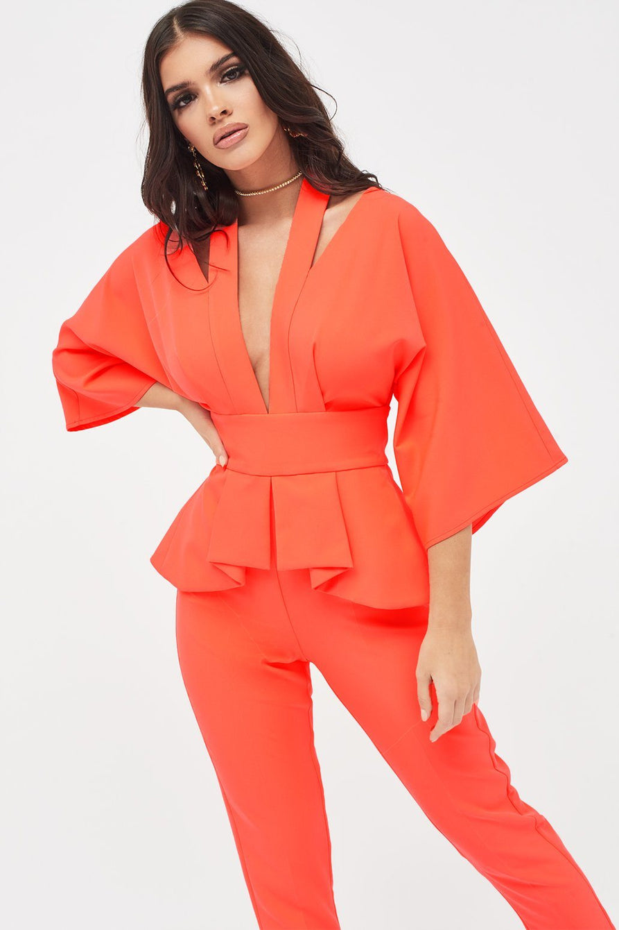 Cutout Kimono Sleeve Tailored Jumpsuit in Neon Coral