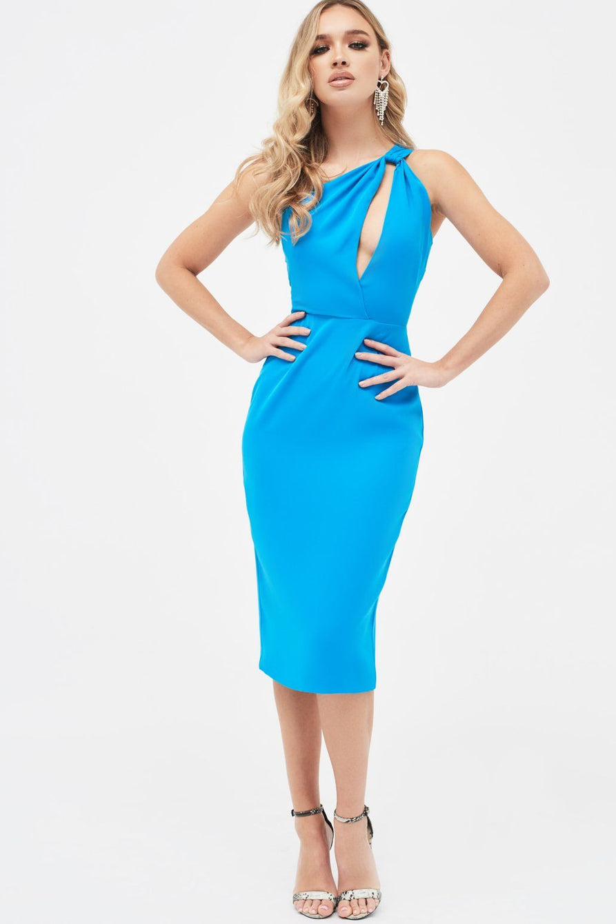 One Shoulder Cutout Midi Dress in Azure Blue