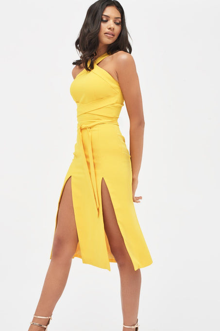 Cross Over Front Double Split Midi Dress in Yellow