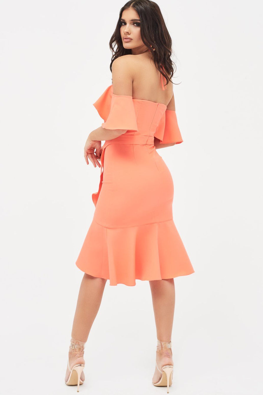 Bardot Frill Halterneck Midi Dress in Neon Coral