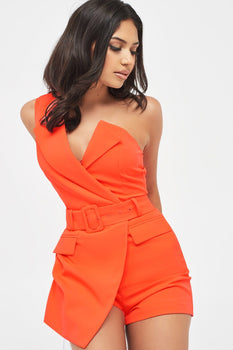 Self Fabric Buckle Belted One Shoulder Playsuit in Neon Coral