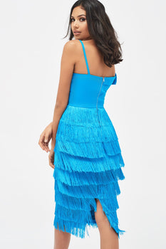 Off Shoulder Fringe Midi Dress in Azure Blue