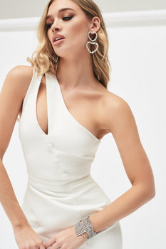 One Shoulder Cutout Centre Midi Dress in White