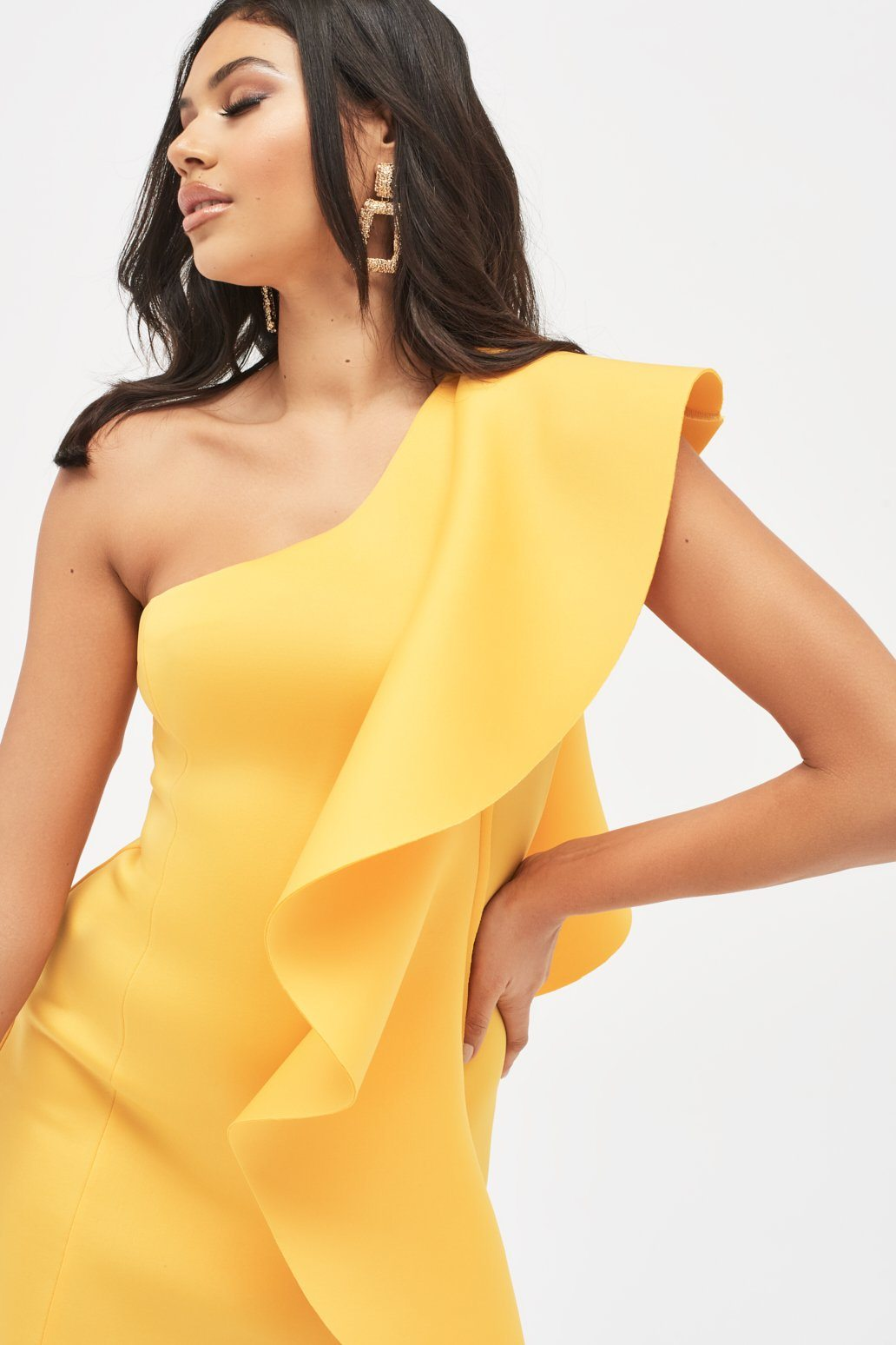 One Shoulder Frilled Scuba Mini Dress in Yellow