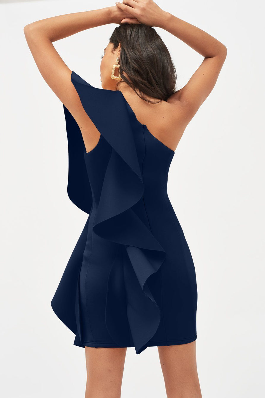 One Shoulder Frilled Scuba Mini Dress in Navy