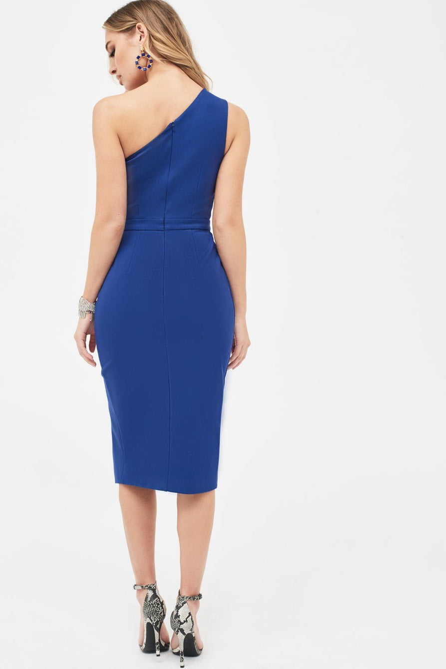 One Shoulder Cutout Centre Midi Dress in Navy
