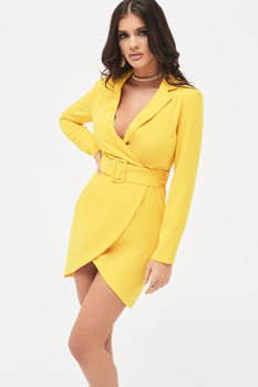 Tailored Wrap Mini Dress in Sunshine Yellow