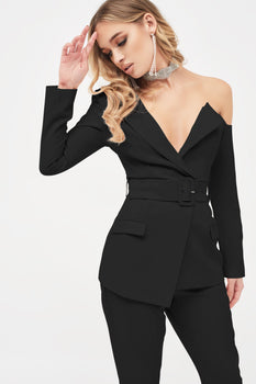 One Shoulder Fitted Belted Blazer in Black