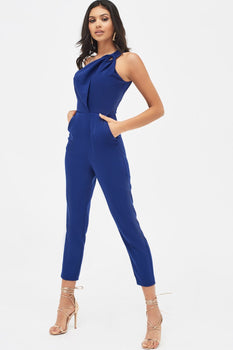 One Shoulder Cutout Tapered Jumpsuit in Navy