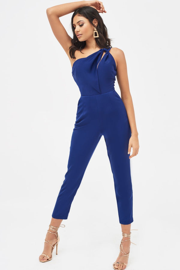 7c606570b3e One Shoulder Cutout Tapered Jumpsuit in Navy ...