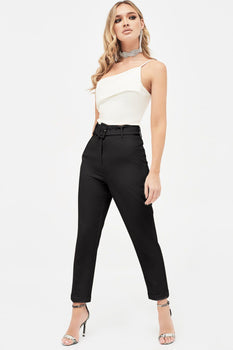 Self Fabric Buckle Belted Tapered Trousers in Black