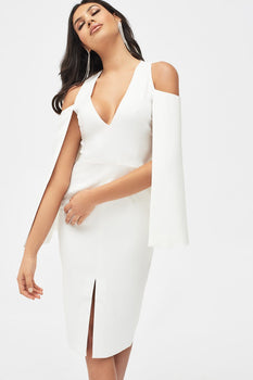 Cold Shoulder Cape Dress in White