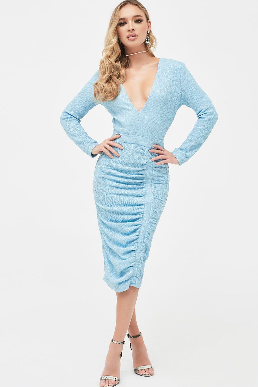Pleated Sequin Midi Dress in Sky Blue
