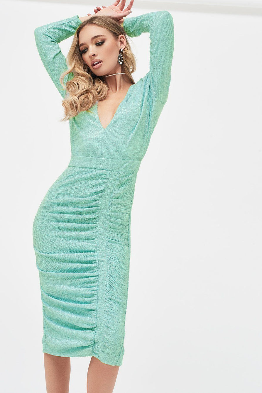 Pleated Sequin Midi Dress in Mint