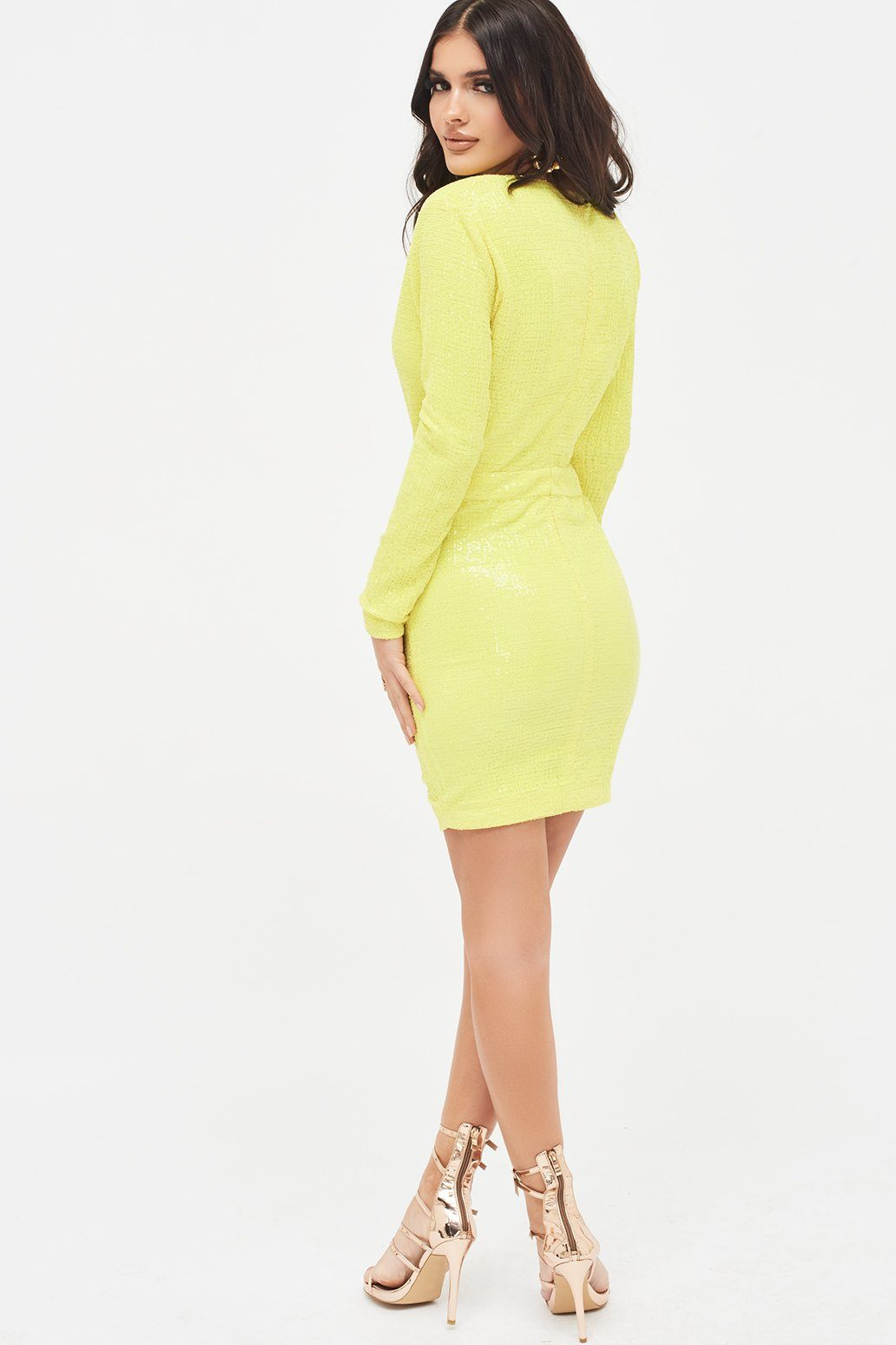 Pleated Sequin Mini Dress in Acid Yellow