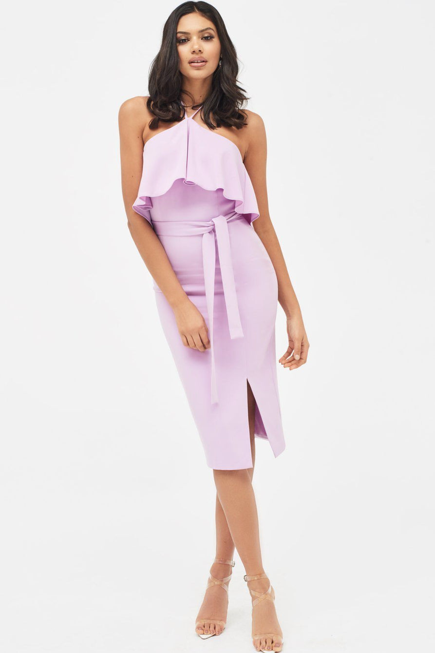 Halterneck Double Layer Midi Dress in Lilac