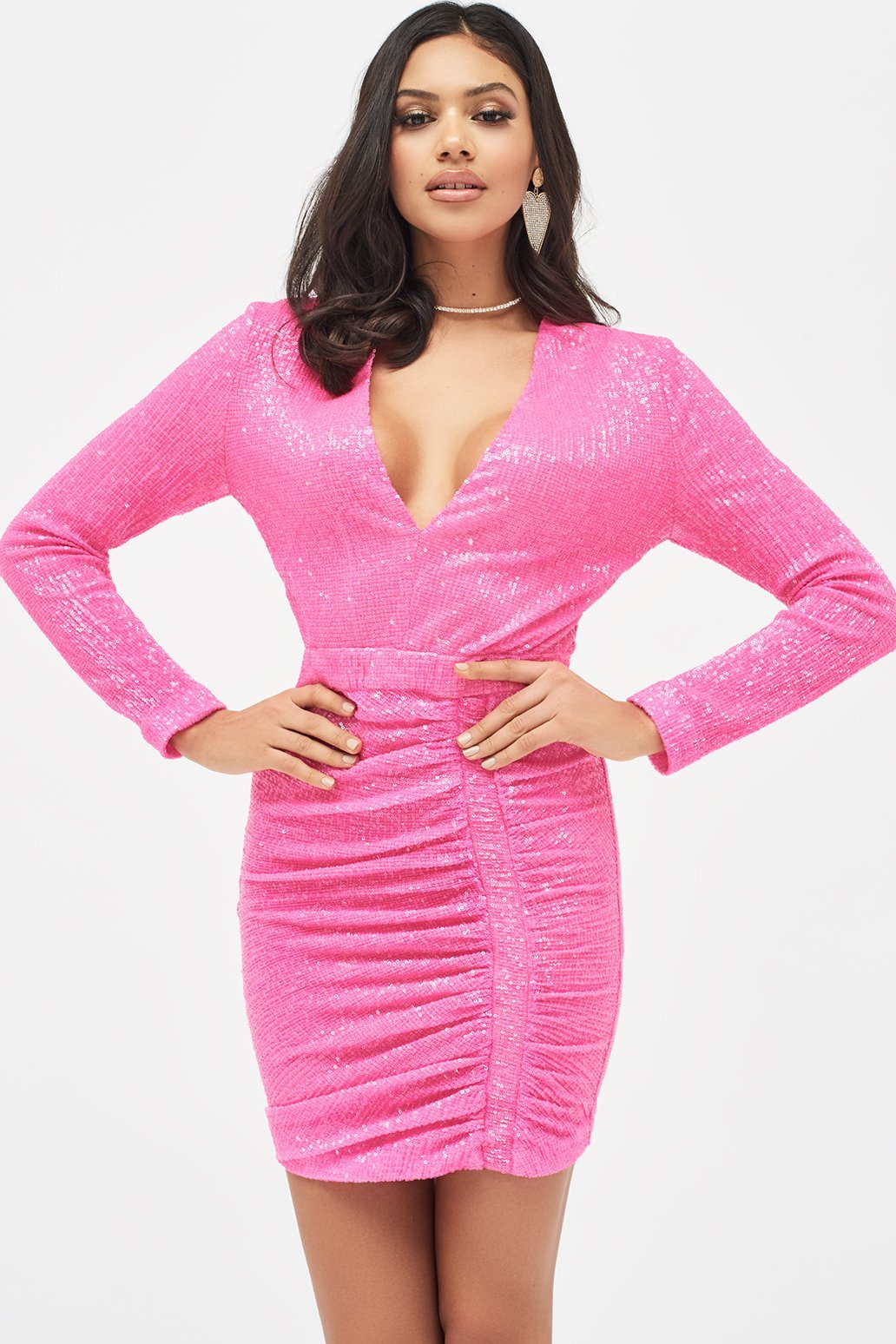 Pleated Sequin Mini Dress in Neon Pink