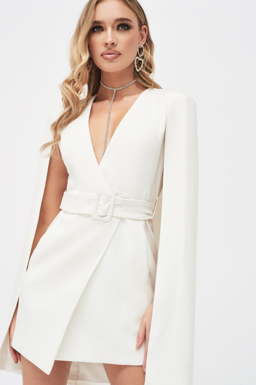 Belted Cape Blazer Dress in White