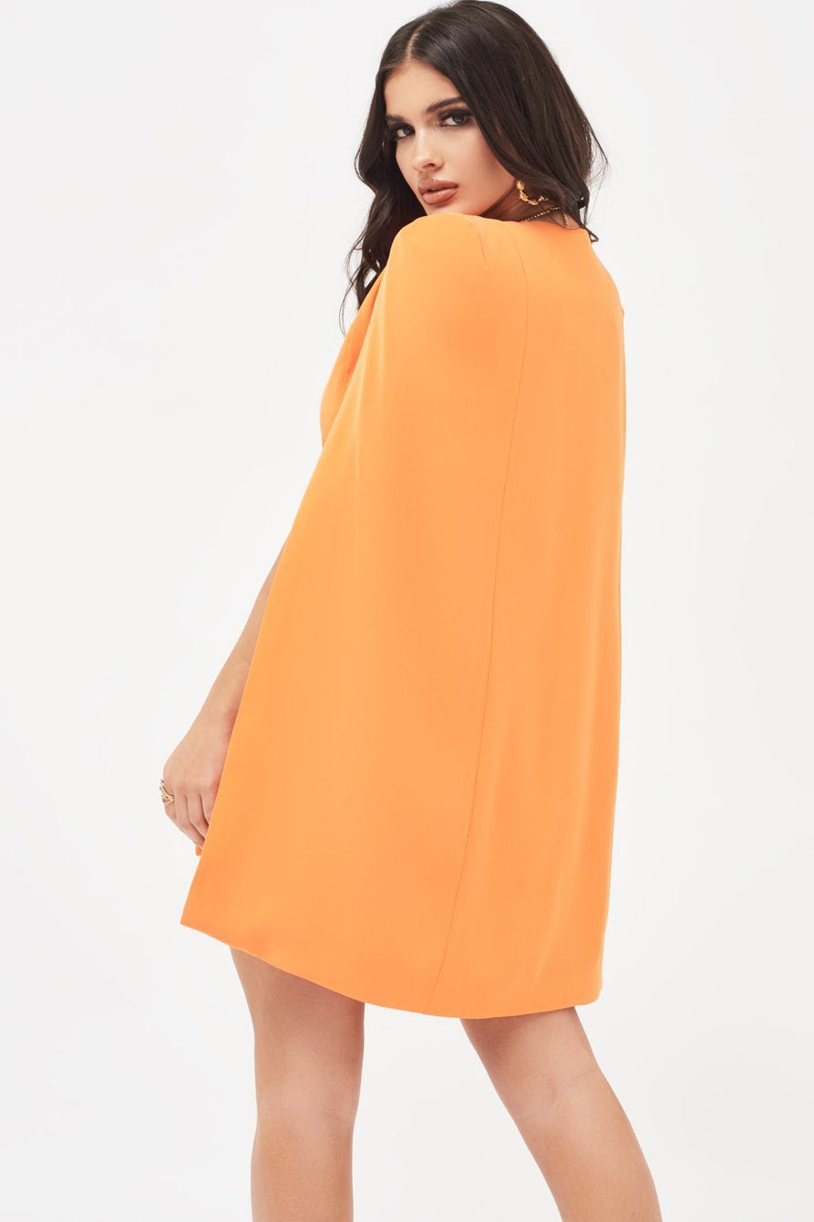 Belted Cape Blazer Dress in Orange
