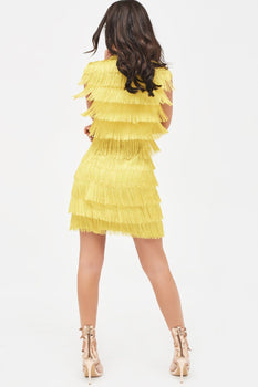 Sleeveless Fringe Tailored Blazer Dress in Acid Yellow