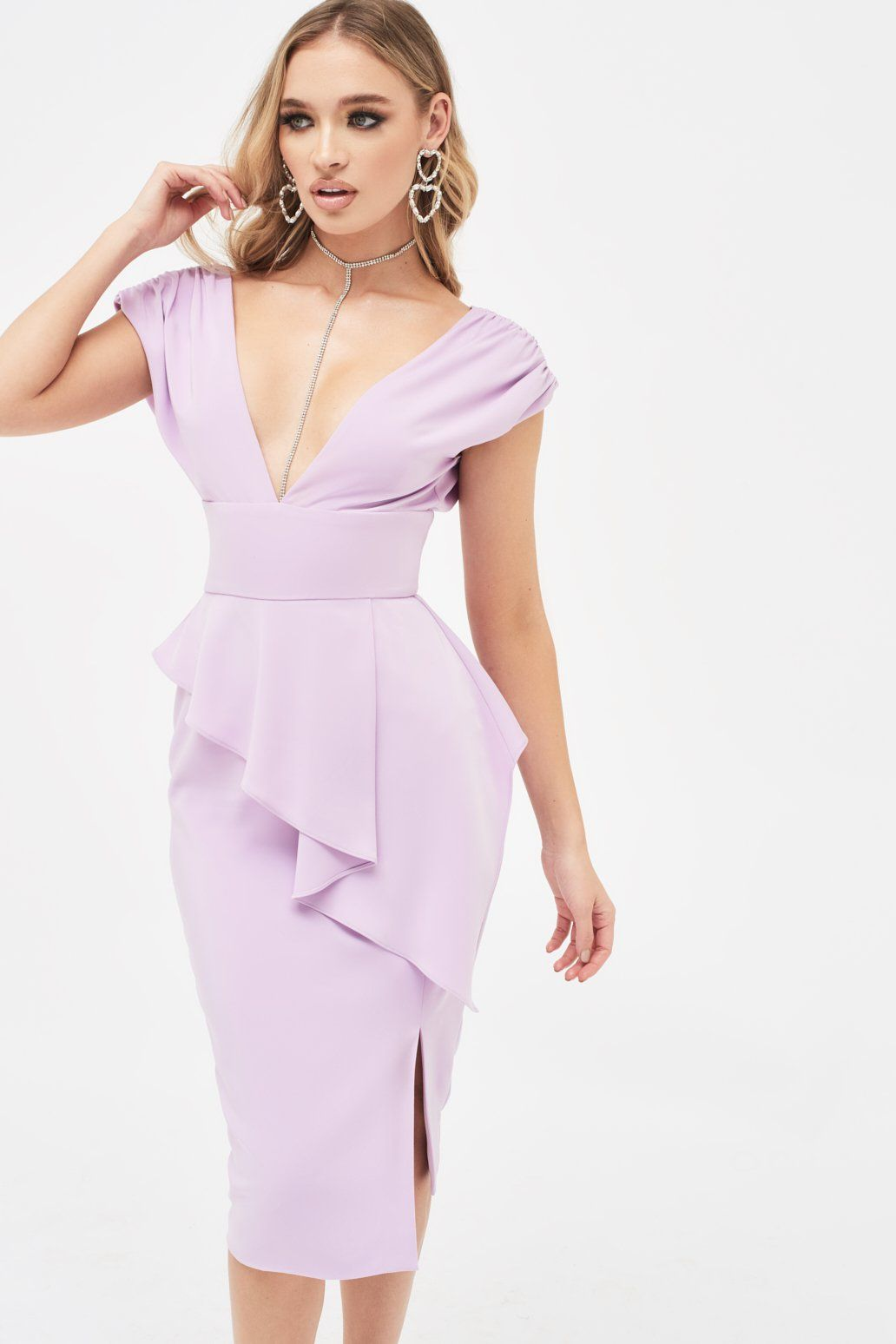Deep Plunge Peplum Midi Dress in Lilac