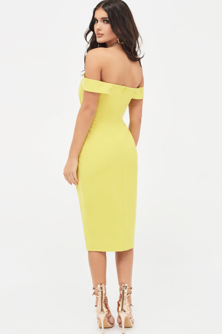 Pleated Bardot Wrap Midi Dress in Acid Yellow