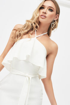 Halterneck Double Layer Midi Dress in White