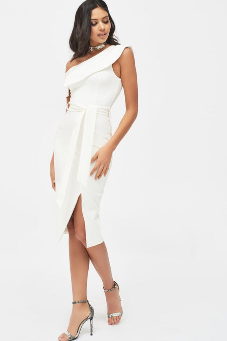 Off The Shoulder Ponte Midi Dress in White
